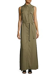 Max Studio Solid Button Down Dress Olive