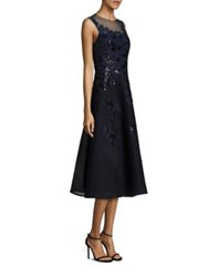 Rickie Freeman For Teri Jon Sequined Applique Lace Dress Navy