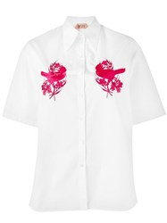 N 21 No21 Birds Embroidery Shortsleeved Shirt White
