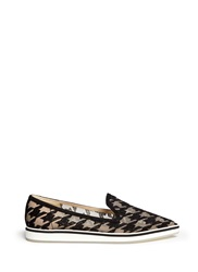 Nicholas Kirkwood 'Alona' Houndstooth Embroidery Microsole Loafers Black