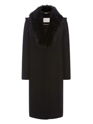 Supertrash Orora Faux Fur Collar Coat Black