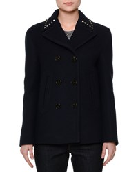 Red Valentino Rockstud Trim Double Breasted Peacoat Navy Women's