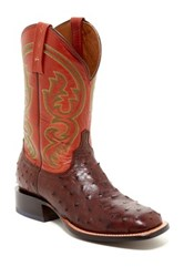 Lucchese Genuine Ostrich Leather Boot Wide Width Available Brown