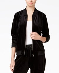 Guess Eriko Velour Bomber Jacket Jet Black