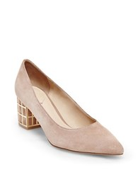 Brian Atwood Karina Embellished Suede Pumps Nude