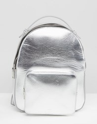 Mango Metallic Backpack With Pocket Detail Silver