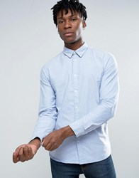 Selected Homme Long Sleeve Slim Fit Oxford Shirt With Hidden Button Down Collar Light Blue