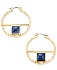 Inc International Concepts Gold Tone Square Navy Stone Hoop Earrings Only At Macy's