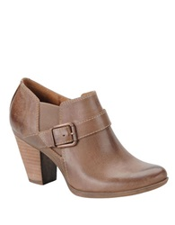 Sofft Nell High Heel Leather Ankle Boots Beige