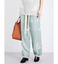 Loewe Straight Boat Jacquard Trousers Sea Water Green