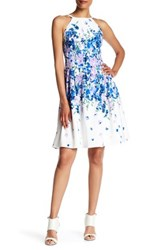 Adrianna Papell Floral Pleated Dress Regular Petite And Plus Size White