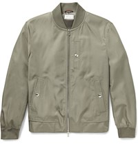 Brunello Cucinelli Silk Bomber Jacket Gray Green