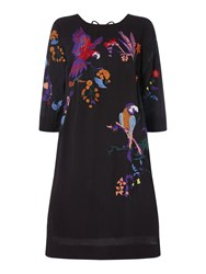 Biba Parrot Placement Embroidered Dress Black