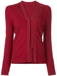 Onefifteen Twist Front Knit Cardigan Nylon Cashmere Merino Red