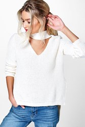 Boohoo Strap Choker V Neck Oversized Jumper Cream