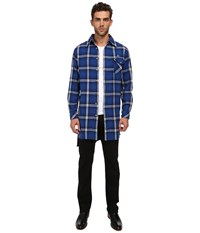Vivienne Westwood Anglomania Padded Giant Shirt Blue Off White Men's Long Sleeve Button Up