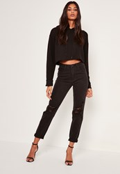 Missguided Black High Rise Busted Knee Mom Jeans