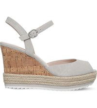 Nine West Debi Peep Toe Cork Wedges Grey Light