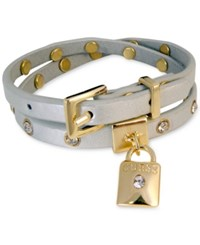 Guess Gold Tone Crystal And Lock Charm Double Wrap Buckle Bracelet