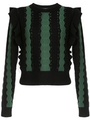 Self Portrait Frill Trim Striped Sweater Black