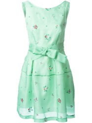 P.A.R.O.S.H. Flower Embroidered Sleeveless Dress Green