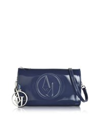 Armani Jeans Faux Patent Leather Mini Crossbody Blue