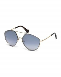 Balenciaga Metal Geometric Aviator Flash Sunglasses Gold