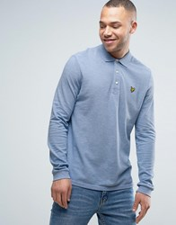 Lyle And Scott Long Sleeve Pique Polo Regular Fit Eagle Logo In Blue Marl Blue Marl