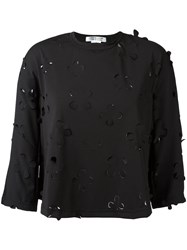 Comme Des Garcons Floral Cut Out Blouse Women Polyester S Black