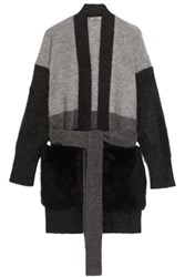 Bottega Veneta Shearling Paneled Mohair Blend Cardigan Gray