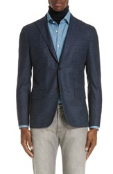 Eidos Napoli Trim Fit Tweed Wool Sport Coat Navy