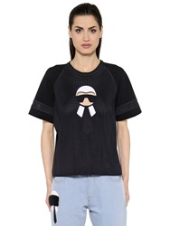 Fendi Printed Techno Mesh And Jersey T Shirt