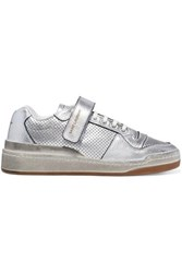 Saint Laurent Travis Logo Print Distressed Perforated Metallic Leather Sneakers Silver