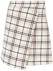 Carven Checked Wrap Skirt Polyamide Acetate Viscose Other Fibers Nude Neutrals