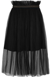 Mother Of Pearl Delphia Embellished Tulle Midi Skirt Black