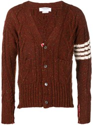 Thom Browne 4 Bar Aran Cable Cardigan Red