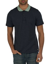 Bench Striped Contrast Collar Polo Shirt Blue