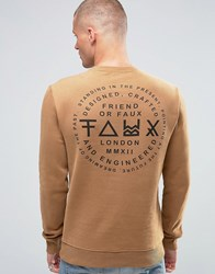 Friend Or Faux Critic Back Print Sweater Brown