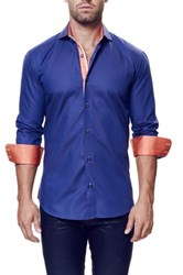 Maceoo Wall Street Long Sleeve Trim Fit Shirt Big And Tall Blue