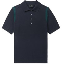 Paul Smith Ps Knitted Cotton Polo Shirt Blue