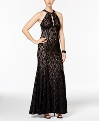 Nightway Petite Glitter Lace Halter Gown Black Nude