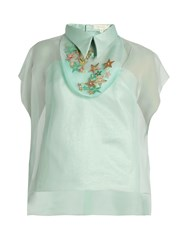 Delpozo Star Embellished Silk Organza Top Light Blue