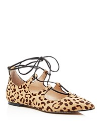 Vince Camuto Emmari Leopard Print Lace Up Pointed Toe Flats Brown