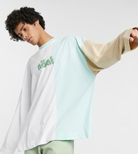 Noak Long Sleeve T Shirt With Cut And Sew Panel With Logo White