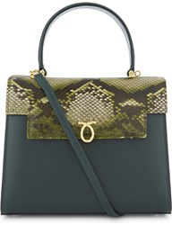 Launer Traviata Python Skin Leather Tote Green Python Flap