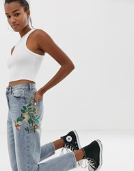 Brave Soul Skinny Jeans With Embroidered Detail Blue