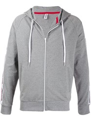 Moschino Logo Trimmed Hoodie Grey