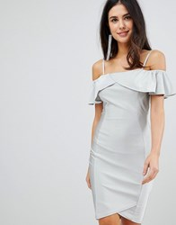 Ax Paris Midi Dress With Overlay Silver