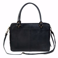 Mahi Leather Oxford Zip Up Satchel Briefcase Bag With 15 Laptop Capacity In Black