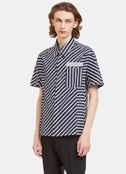 Lanvin Mixed Stripe Short Sleeved Shirt Navy